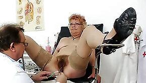 Short haired plump granny Bety freaky gyno checkup
