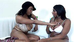 Big tits ebony lesbian pussy fingered seductively
