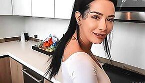 Stunning big bottomed hottie Katrina Jade fucked in the kitchen