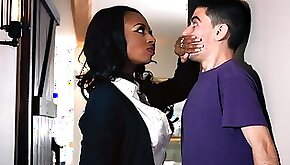 Ebony cougar fucks her young dude and swallows his jizz
