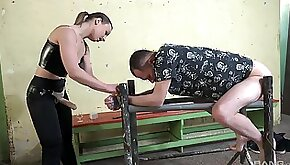 Nude male plays submissive with his master in crazy BDSM sex scenes