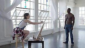 White girl Joseline Kell worships bbc model gets to ride the big shaft