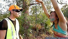 Nasty teen deepthroats a hard stick outdoors