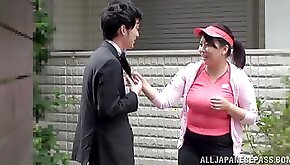 Chubby Japanese mom gets her throat fucked in the missionary pose