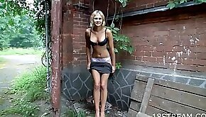 Naughty Blonde babe Goes For a Walk and an Orgasm