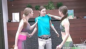 Unforgettable workout with two adorable fitness teens Izzy Lush and her girlfriend