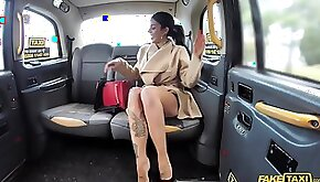 Fake taxi driver serves a busty brunette masturbates with tattoos
