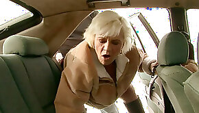 Hussy granny is sucking hard dick deepthroat before getting her hairy clam toy fucked