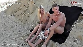 MyDirtyHobby Hot blonde sucks at a public beach