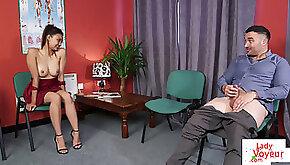 CFNM voyeur instructs jerk off at doc office