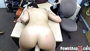 Smoking Hot Latina Amateur Bent Over Table in Pawn Shop and Fucked Hard