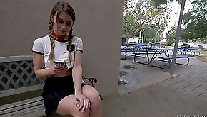 Sweet and skinny white girl meets a freak from sex chat
