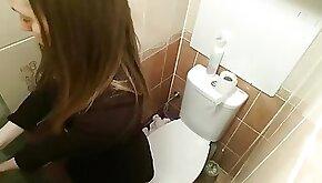 Hidden camera in the toilet. hot schoolgirl masturbates her tight wet pussy