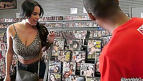 Eye catching French milf Anissa Kate is visiting black glory hole room