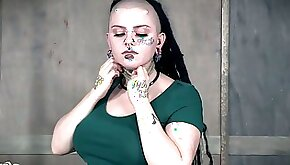 Tattooed goth Luna LaVey is restrained and punished in the BDSM room
