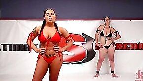 Curvy fit bikini wrestlers in brutal lesbian femdom wrestling fetish