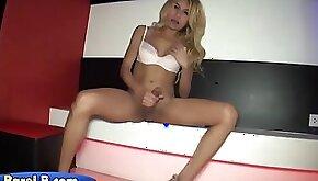 Drunk blonde lady boy caught jerking her big cock on spy cam