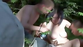 Drunk slut in the park with guys
