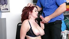 Big boobied mature redhead has to satisfy security officers dick