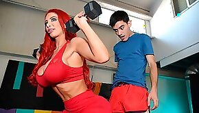 Sensual mom with curvy huge natural boobs Nicolette Shea fucked by a skinny young man