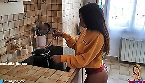 Latika Jha Asian Indian Teen with Huge Boobs Gettin Fucked in her Kitchen Amateur