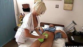Blonde Nurse Wearing Lingerie Titty Fucks A Big Dick