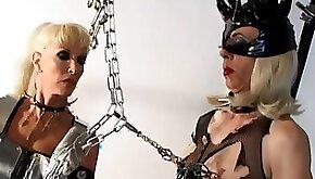 Mistress Alexandra dominates a blonde tranny in hot BDSM scene