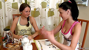 Two warm roomies In Wet Oiled and Hot Lesbian Action