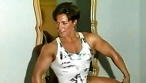 Elder muscular gal flex worship armwrestle