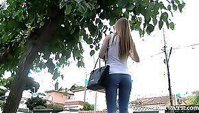 Pleasing blonde babe in jeans with long hair giving a steamy blowjob before being screwed in a bus