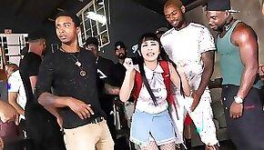 Pigtailed Asian Interracial Gangbang