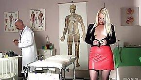 Kinky doctor enjoys poking tight pussy of blondie Angel Spice