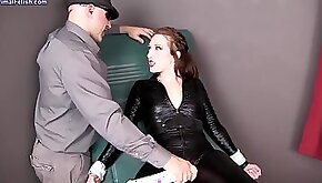 Gorgeous red haired lady in a leather suit is toying her wet pussy and getting fucked really hard