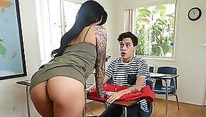 MILF Naughty Boy Gets Sucked?Hot MILF Teacher during Detention