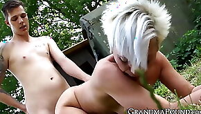 Seductive old girl bouncing on juicy younger cock