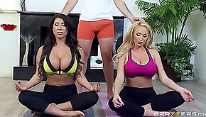 Massive tits milfs in skintight yoga clothes fuck a big dick guy