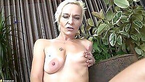 Skinny tattooed matured blonde masturbating using toy while moaning