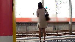Japanese AV model is a hot milf taking the train