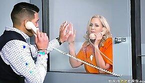 Julia Ann is a mature blonde inmate craving a big dick