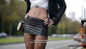 Eternal hooker in extreme high heels spandex skirt