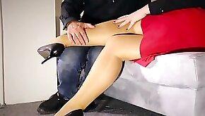 Horny Teacher milf jerks stockings fucking squirt
