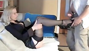 Sexy milf likes you to cum on her feet shoes and stockings