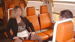 Virgin boy and amateur blonde milf in train